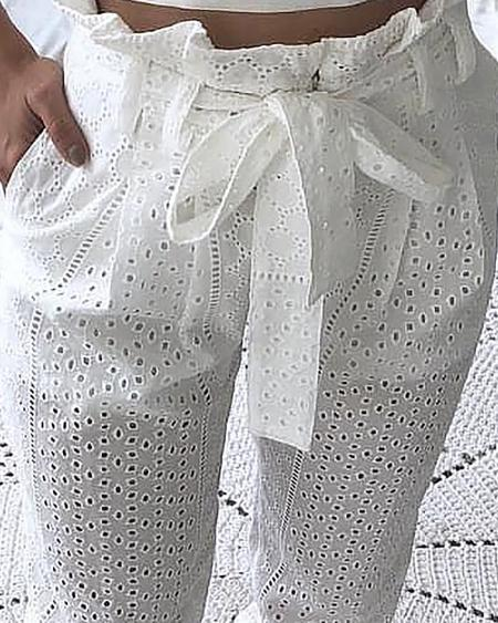 boutiquefeel / Paperbag Waist Broderie Lace Casual Pants