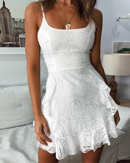 Spaghetti Strap Floral Pattern Print Ruffles Dress