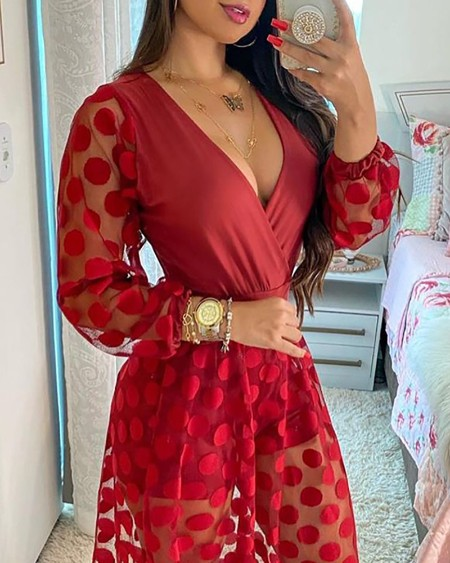 Polkadot Print Wrap Long Sleeve Maxi Dress