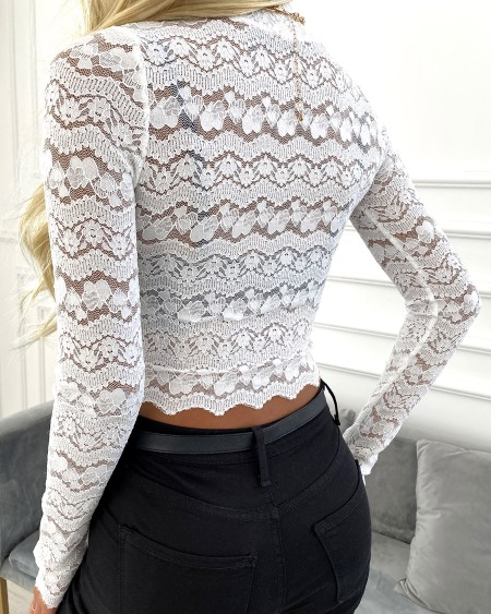 Floral Lace Mock Neck Long Sleeve Top