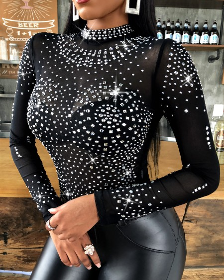 Studded Long Sleeve Bodysuit