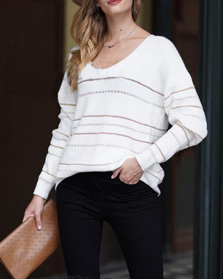Golden Striped Long Sleeve Knitted Sweater