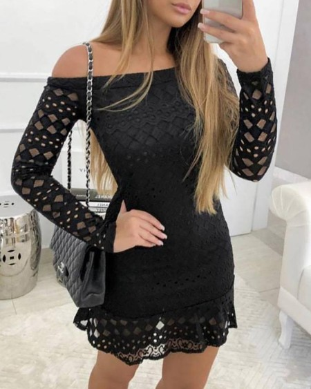 Off Shoulder Ruffles Hollow Out Lace Dress
