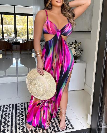 Colorblock Cutout Waist High Slit Maxi Dress