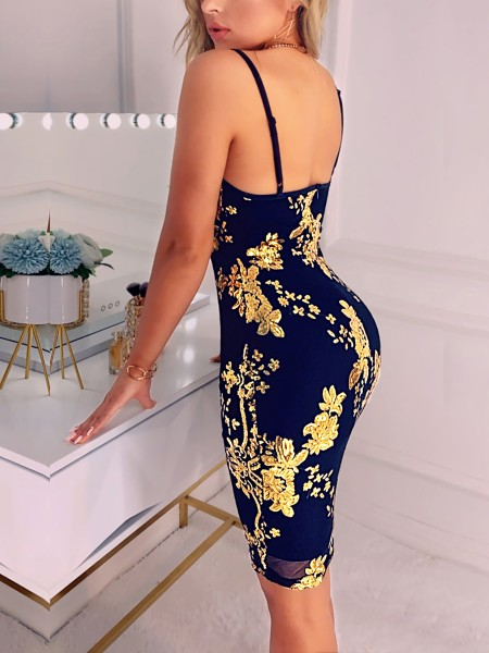 Spaghetti Strap Floral Sequin Party Dress