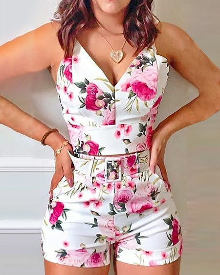 Floral Print Spaghetti Strap Top & Shorts Set