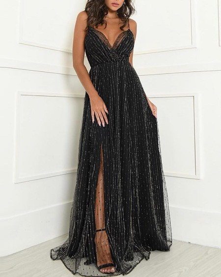 Glitter Spaghetti Strap Mesh Slit Evening Dress