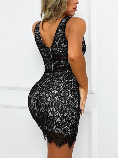 Hollow Out Detail Eyelash Lace Dress