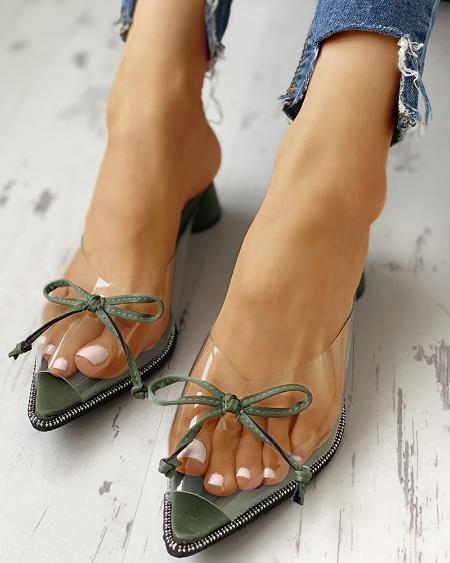 boutiquefeel / Transparent Pointed Toe Bowknot Sandals