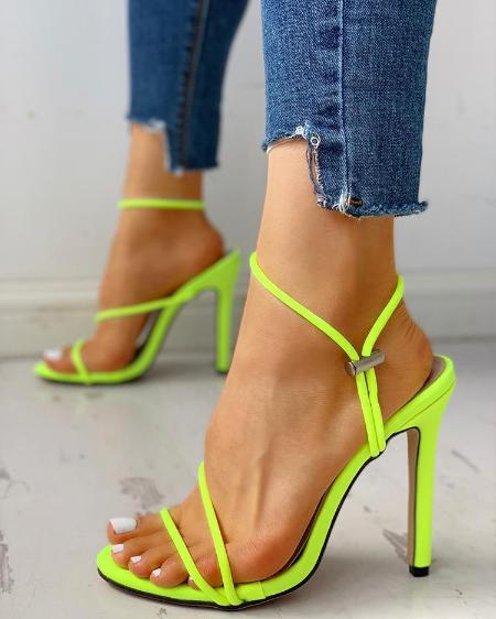 boutiquefeel / Open Toe Slingback Thin Heeled Sandals