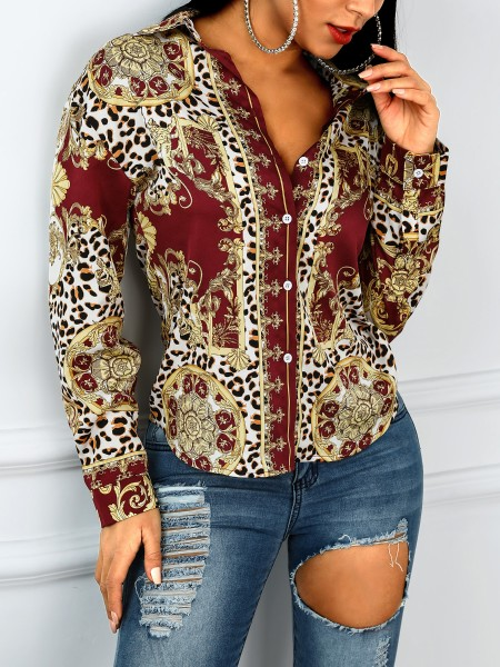 Ethnic Print Button Up Long Sleeve Blouse