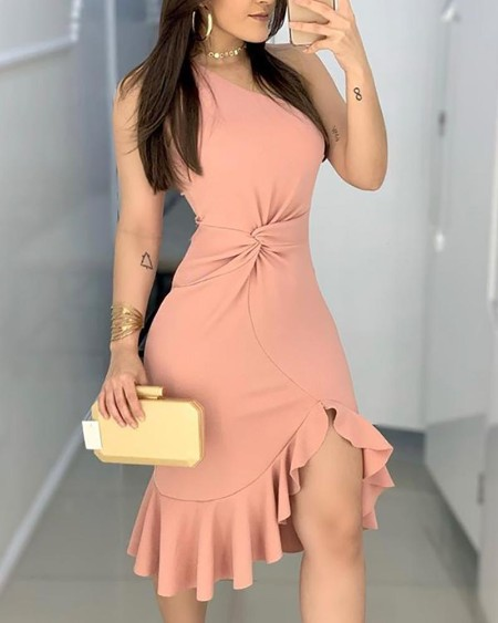 One Shoulder Waist Twisted Ruffles Hem Dress