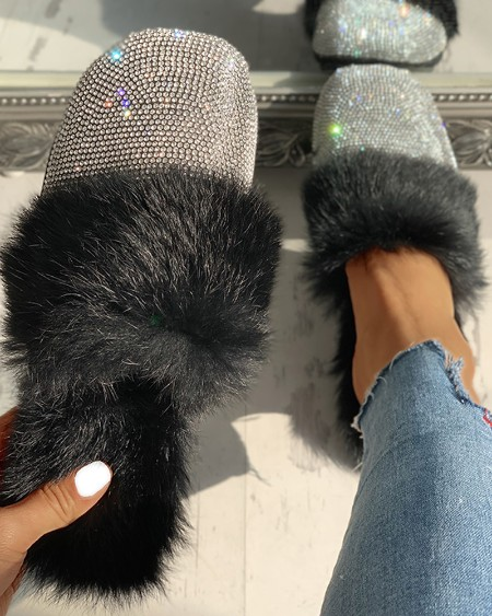 boutiquefeel / Fluffy Glitter Sequins Flat Shoes