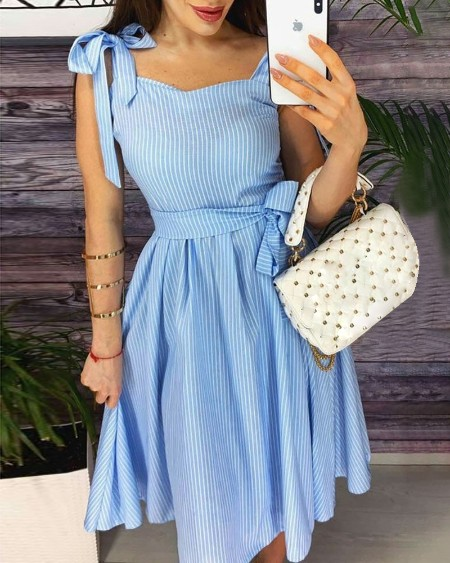 Tied Strap Striped Casual Dress
