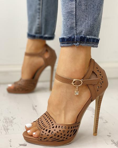 boutiquefeel / Peep Toe Hollow Out Thin Heeled Sandals