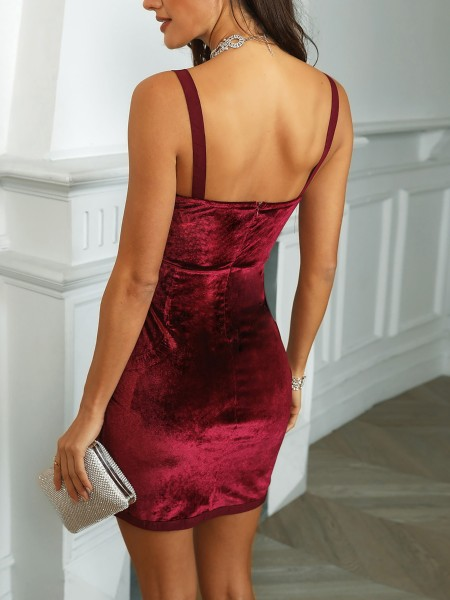 Velvet Deep V-Neck Thin Strap Bandage Dress