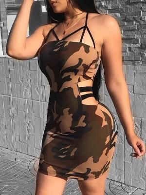 Camo Print Cutout Bandage Waist Bodycon Dress