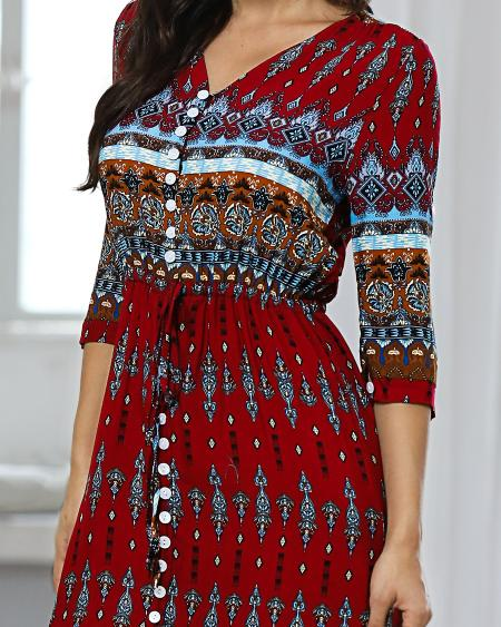 boutiquefeel / Ethnic Printed Bandage Boho Maxi Dress