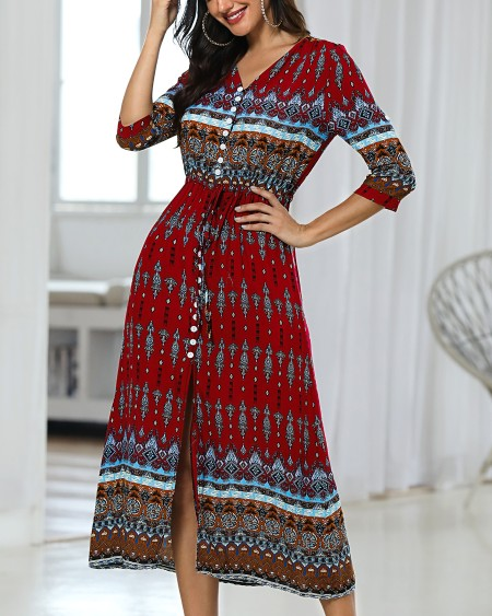 boutiquefeel / Ethnic Printed Bandage Boho Maxi Dress