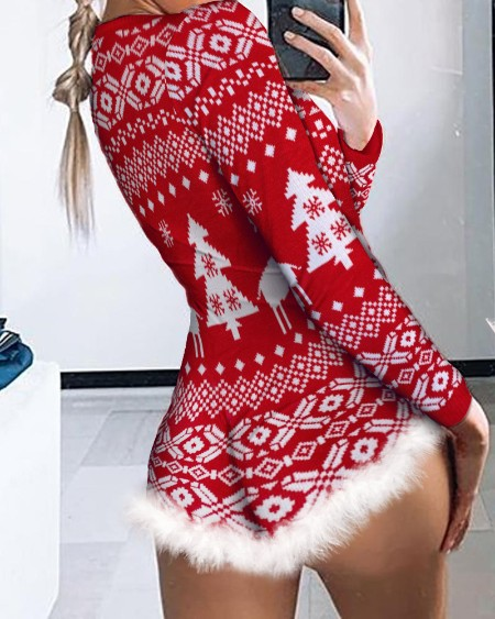 Christmas Fluffy Trim Button Front Lounge Bodysuit