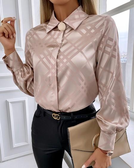 Plaid Button Decor Satin Shirt