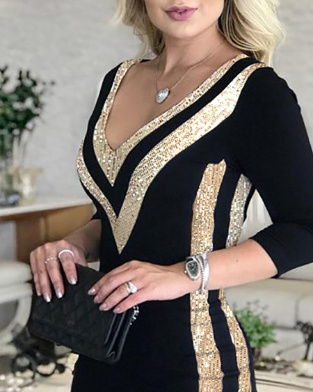 Sequins Colorblock Long Sleeve Dress