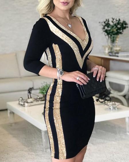 Sequins Colorblock Long Sleeve Dress