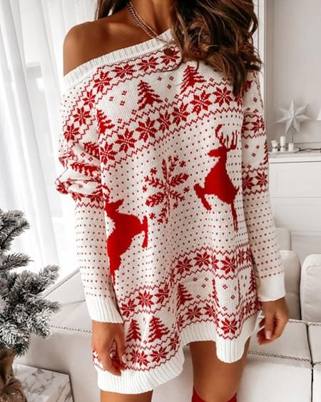 Christmas Print Long Sleeve Knit Dress