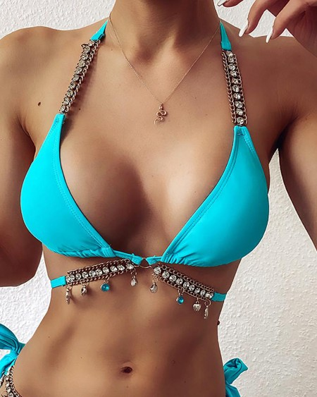 Studded Shell Pattern Halter Padded Bikini Set