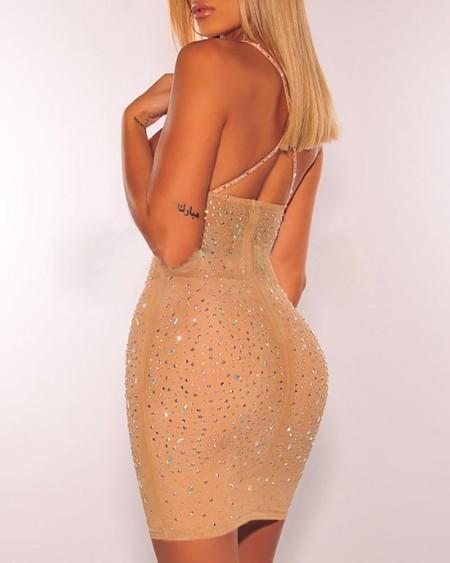 Studded Spaghetti Strap Crisscross Backless Dress