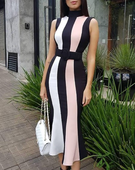 e9457b843e4f Sleeveless Colorblock Striped Insert Fishtail Dress ...