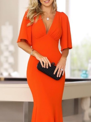 Solid Ruched Bell Sleeve Evening Dress