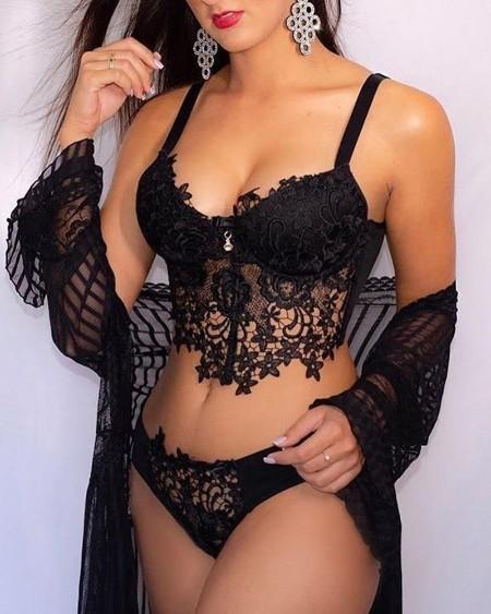 Lace Bra Top & Panties Set