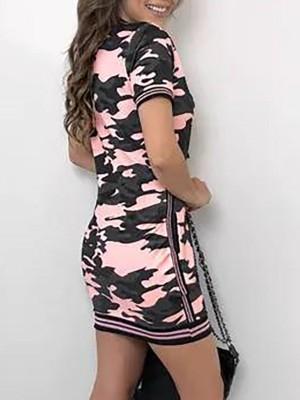 Camo Print Striped Tape Side Casual Dress