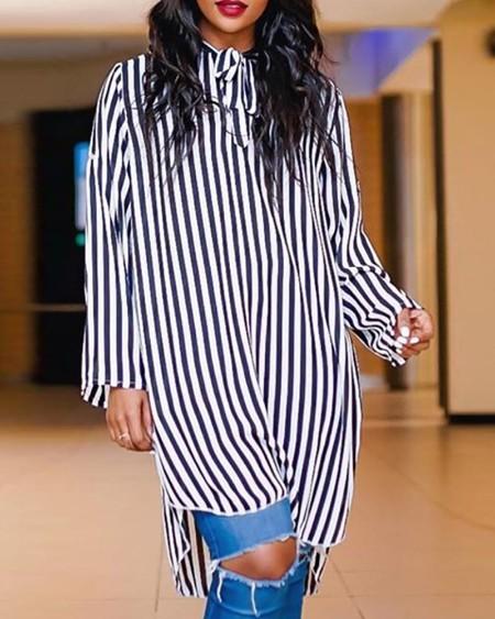 boutiquefeel / Striped Tied Neck Dip Hem Shirt