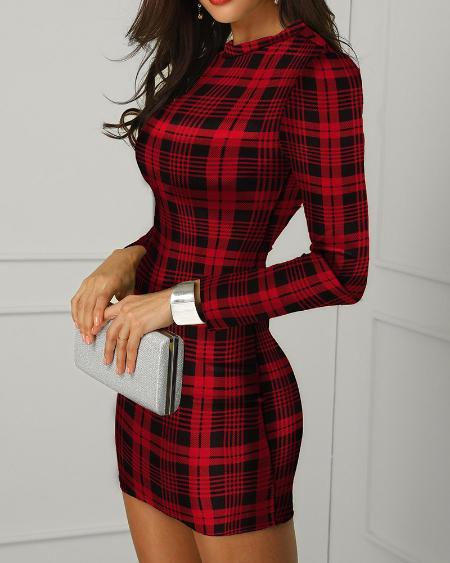 Plaid Long Sleeve Bodycon Dress
