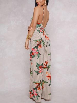 Floral Printed Halter Open Back Wide Leg Jumpsuit