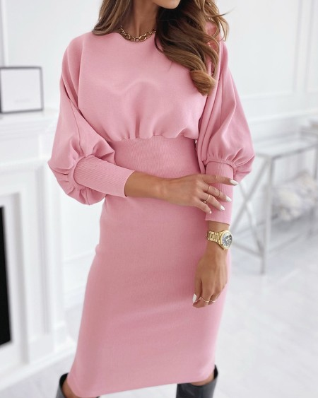 Plain Lantern Sleeve Knit Casual Sweater Dress