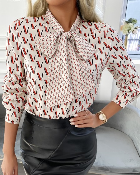 All Over Print Tie Front Lantern Sleeve Shirt