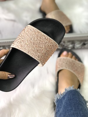 Hot Drilling Single Strap Flat Sandals