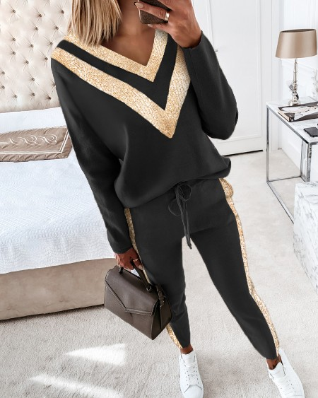 Colorblock Sequins Long Sleeve Top & Drawstring Waist Pants Set