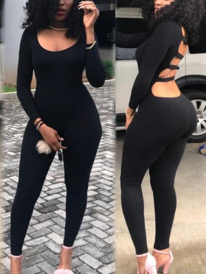 Ladder Cut Out Back Solid Jumpsuit