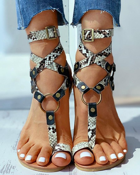 Toe Ring Buckled O-ring Design Flat Sandals