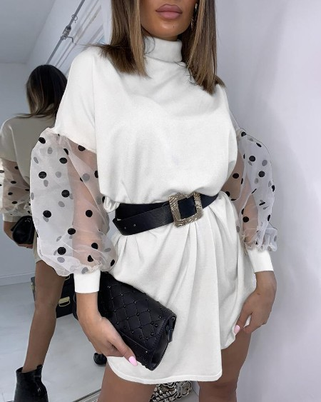 Mesh Dot Puff Sleeve Mini Dress