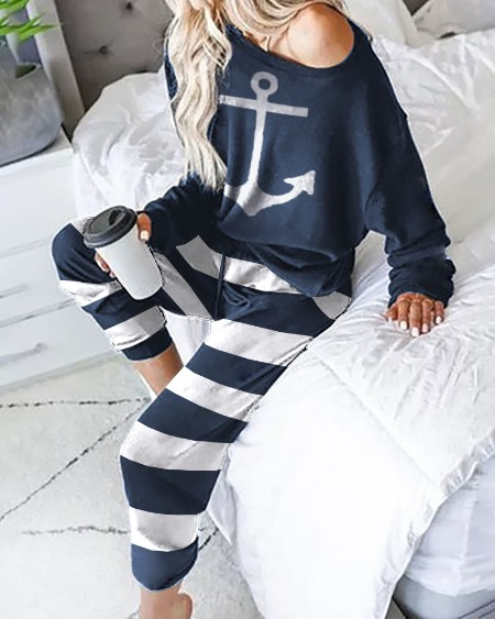 Boat Anchor Print Long Sleeve Pajamas Sets