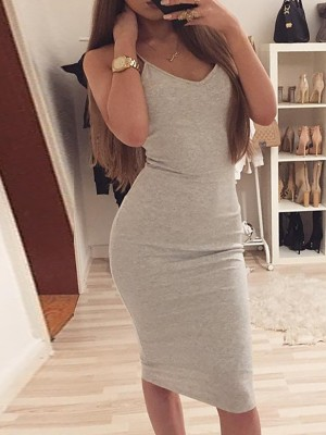 Sexy V Neck Strappy Bodycon Dress