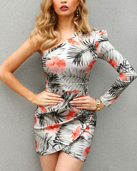 One Shoulder Print Ruched Bodycon Dress