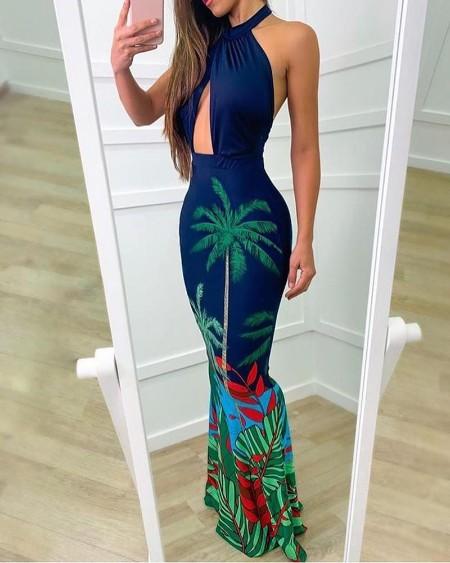 Halter Print Cutout Fishtail Maxi Dress