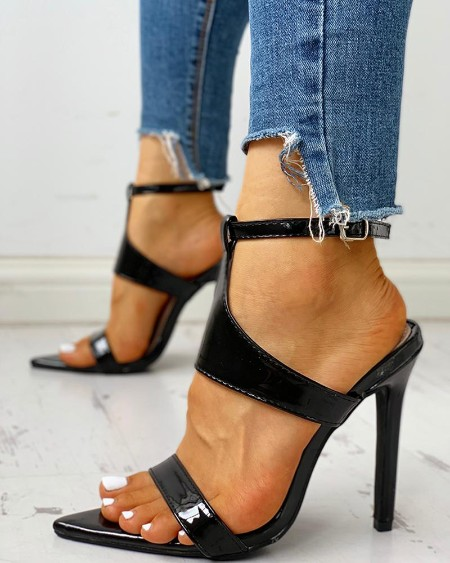 Ankle Strap Buckled Slingback Thin Heels