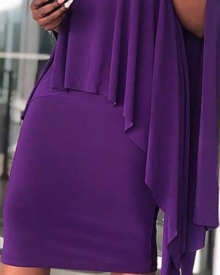 Solid High Neck Irregular Hem Top & Skirt Sets